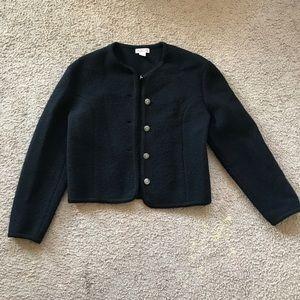 Talbots 100% Wool Black women's size 6 cardigan